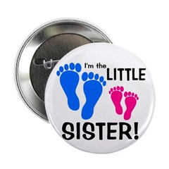 "Little Sister Baby Footprints 2.25"" Button"