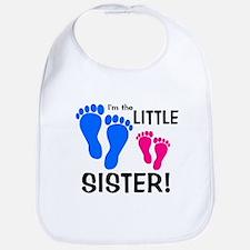 Little Sister Baby Footprints Bib