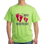 Big Sister Baby Footprints Green T-Shirt