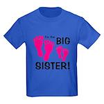Big Sister Baby Footprints Kids Dark T-Shirt
