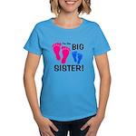 Big Sister Baby Footprints Women's Dark T-Shirt