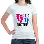 Big Sister Baby Footprints Jr. Ringer T-Shirt