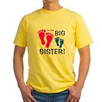 Big Sister Baby Footprints Yellow T-Shirt
