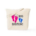 Big Sister Baby Footprints Tote Bag
