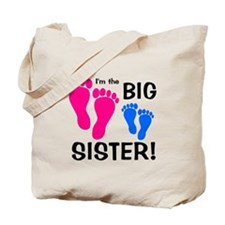 Big Sister Baby Footprints Tote Bag