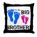 Big Brother Baby Footprints Throw Pillow