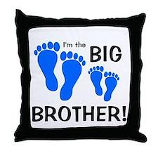 Big Brother Baby Footprints Throw Pillow