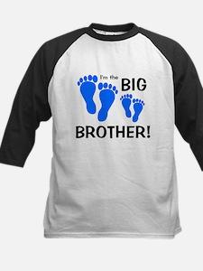 Big Brother Baby Footprints Kids Baseball Jersey