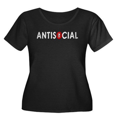 Antisocial Women's Plus Size Scoop Neck Dark T-Shi