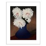 White Mums in Blue Vase Small Poster