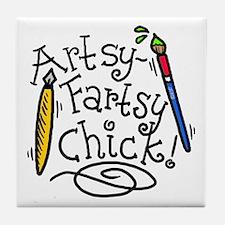 Artsy-Fartsy Chick! Tile Coaster