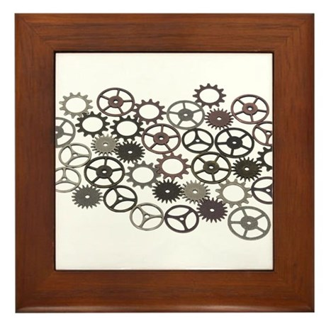Retro gears Framed Tile