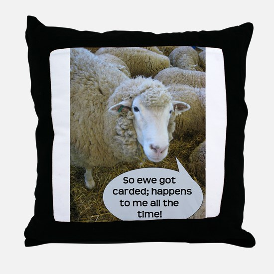 Carded, eh? Throw Pillow