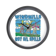 Windmills Not Oil Spills Wall Clock
