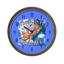 When Pigs Fly Wall Clock 10 inch