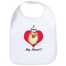 Pomeranian I Love Mom! Bib