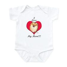 Pomeranian I Love Mom! Infant Creeper