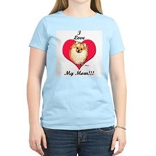 Pomeranian I Love Mom! Women's Pink T-Shirt