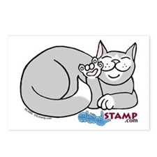 Gray/White ASL Kitty Postcards (Package of 8)