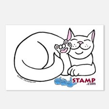 White ASL Kitty Postcards (Package of 8)