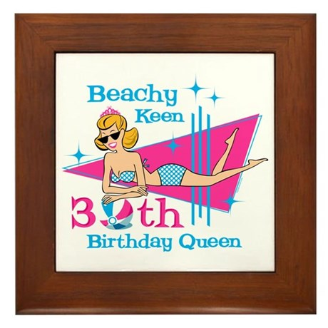 Beachy Keen 30th Birthday Framed Tile