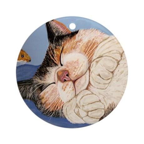Catnapping Ornament (Round)