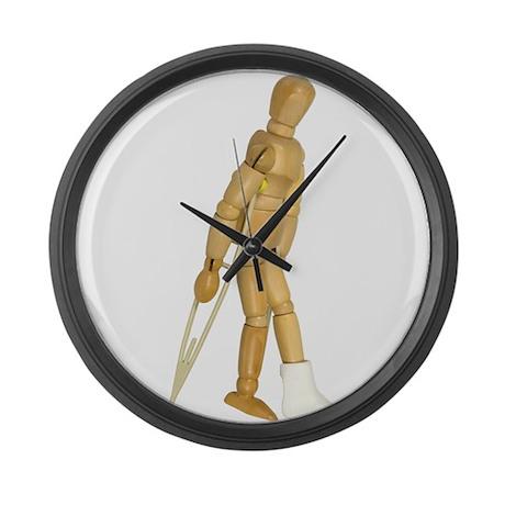 Using Crutches Large Wall Clock