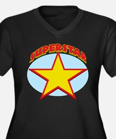 Superstar Women's Plus Size V-Neck Dark T-Shirt