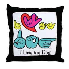 I-L-Y My Dog Throw Pillow