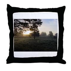 Misty Cold Sunrise Throw Pillow