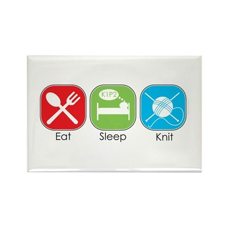 Eat Sleep Knit Rectangle Magnet