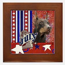 July 4th Firecracker Doberman Framed Tile