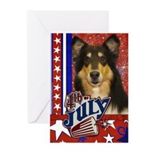 July 4th Firecracker Collie Greeting Cards (Pk 10