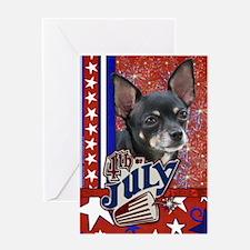 July 4th Firecracker Chihuahua Greeting Card