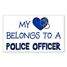 Police Officer's Heart Rectangle Decal