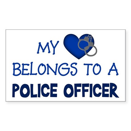 Police Officer's Heart Rectangle Sticker