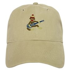 Sock Monkey Blue Guitar Baseball Cap