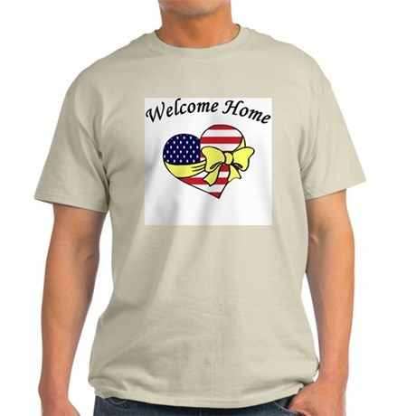 Welcome Home Flag Heart Bow Ash Grey T-Shirt