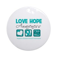 Ovarian Cancer LoveHope Ornament (Round)