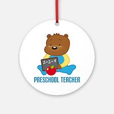 Preschool Teacher Bear Ornament (Round)