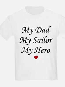 Navy My Dad Sailor Hero Kids T-Shirt