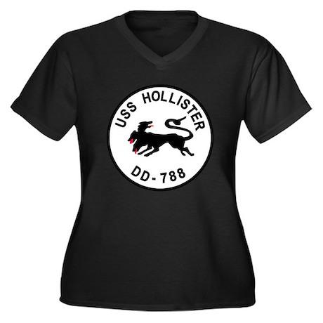 DD-788 Women's Plus Size V-Neck Dark T-Shirt