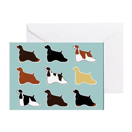 Colorful Cockers Greeting Card