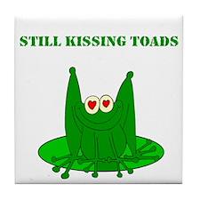 Still Kissing Toads Tile Coaster