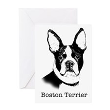Graphic Boston Terrier Greeting Card