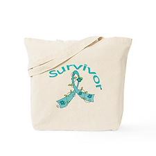 Ovarian Cancer Floral Tote Bag
