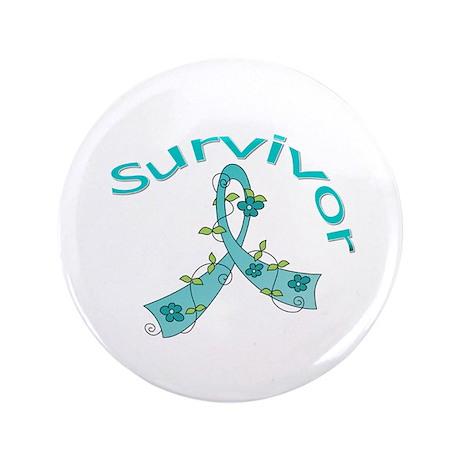"Ovarian Cancer Floral 3.5"" Button"