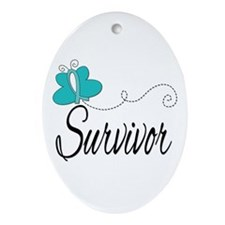 OvarianCancer ButterflyTrail Ornament (Oval)