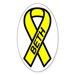 BETH - Yellow Ribbon Oval Decal