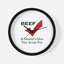 Beef=No Avian Flu Wall Clock